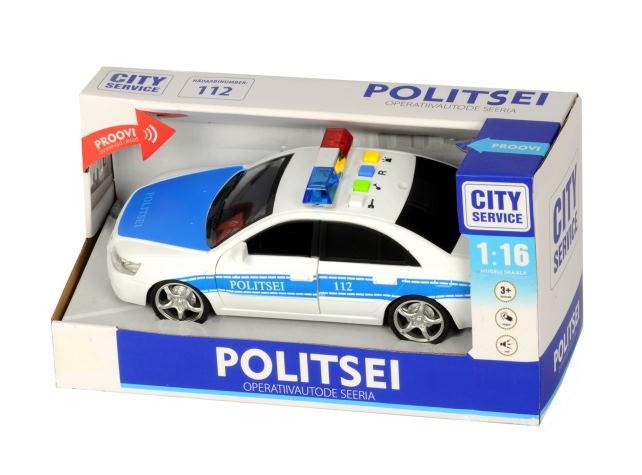 Heli ja tuledega politsei auto